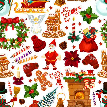 Christmas and New Year holiday seamless pattern background. Xmas tree and holly berry wreath, Santa gift, snowman and presents, candle, snowflake and cookie, ribbon bow and candy for Xmas theme design