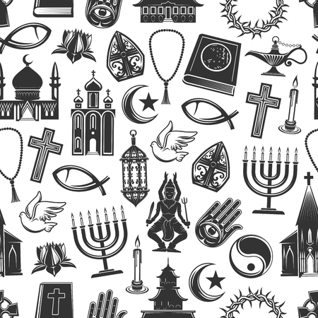 World religion symbols and religious signs seamless pattern. Vector background of Christianity crucifix cross, Orthodox or Catholic bible, Judaism star and Islam Koran or Buddhism and Hinduism temples