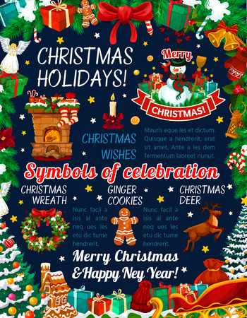 Merry Christmas season holiday celebration of Xmas and New Year symbols. Vector Christmas tree decorations and ornaments, Santa gift bag and snowman, angel and golden bell in wreath on blue background