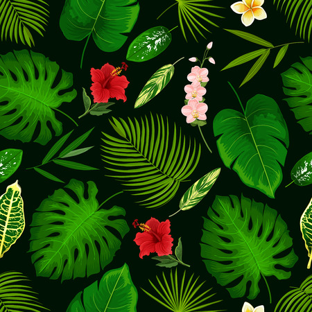 Tropical palm leaf and exotic flowers pattern background. Vector seamless design of hibiscus, banana palm or monstera leaf and fern plant, cyperus or orchid and plumeria or tropic lily blossom Çizim