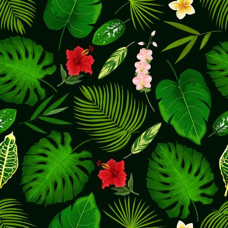 Tropisches Palmblatt und exotische Blumenmusterhintergrund. Vektornahtloses Design von Hibiskus, Bananenpalme oder Monsterablatt und Farnpflanze, Cyperus oder Orchidee und Plumeria oder tropischer Lilienblüte