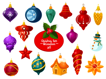 Christmas ornament and New Year bauble icon set. Xmas tree festive decoration in shape of snowman, star and house, snowflake, pinecone and ball for winter holiday design