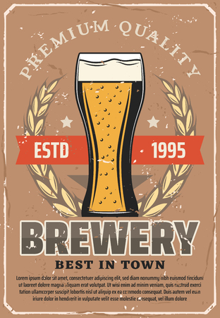 Brewery vintage poster with frothy beer glass in premium quality laurel wreath. Vector craft beer brewing tradition pub or bar design with stars and ribbons Illustration