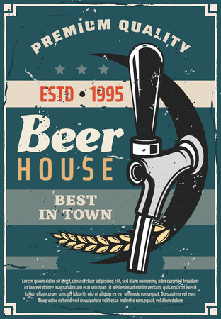 Beer house or craft brewery traditional production line retro poster. Vector vintage advertisement design of bar or pub tap with wheat for premium quality beer brewing Illustration