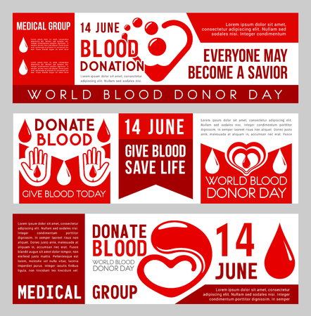 Blood donation banner set for World Blood Donor Day. Red drop of blood, heart and hand medical clinic information flyer for transfusion laboratory, donor center and health care themes design