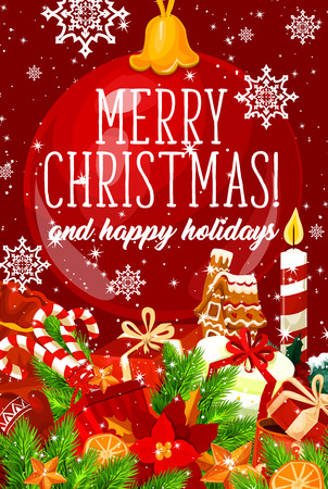 Merry Christmas greeting card of Santa gifts and gingerbread cookie with candle decoration for winter holiday season. Vector snowflakes and Christmas tree golden star ornament on red background
