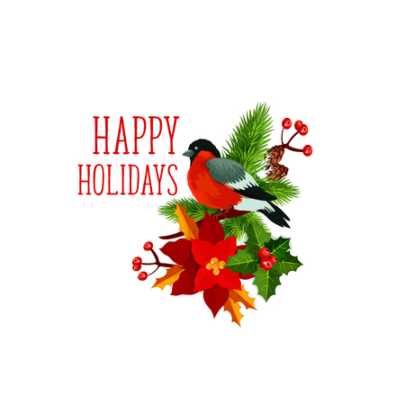 Happy Holidays greeting icon of bullfinch bird on Christmas wreath of poinsettia and holly. Vector isolated symbol of New Year winter season celebration for greeting card design template Ilustracja
