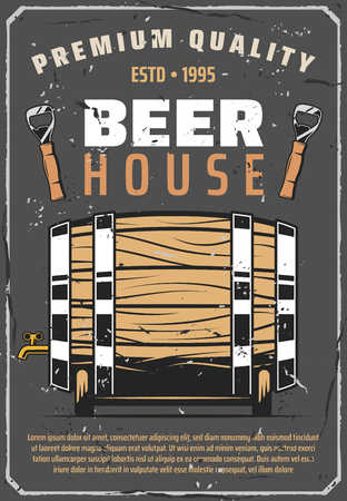 Brewery house or beer brewing traditional pub vintage poster. Vector retro design of wooden barrel with craft beer tap and bottle opener for premium quality production Illustration
