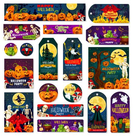 Etiqueta de celebración de truco o trato de noche de vacaciones de Halloween y banner de saludo. Linterna de calabaza de octubre, fantasma y esqueleto, zombi, momia y vampiro, bruja, murciélago y luna, demonio diablo y casa espeluznante Ilustración de vector