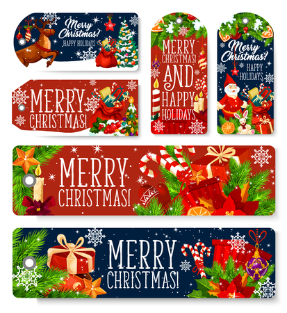 Merry Christmas greeting tags, cards and banners for winter holiday season. Vector set of Xmas decoration ornaments, New Year fir tree wreath and holly ribbon, Santa gifts on sleigh in snow