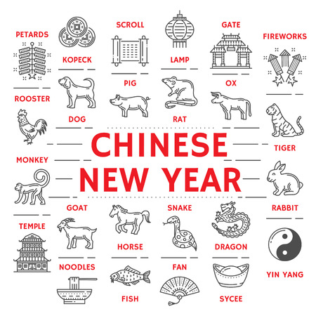 Chinese New Year icons poster zodiac animals and petards. Kopeck and scroll, lamp, gate, areworks and yin yang, sycee and fan, fish and noodles, temple and sycce line art symbols vector isolated