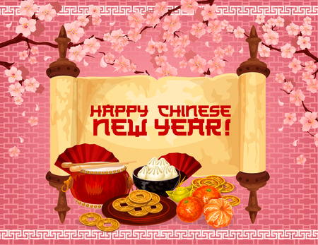 Chinese New Year greeting banner of oriental holiday traditional symbols. Parchment scroll with festive food, gold ingot and Spring Festival drum, lucky coin and cherry flower for asian holiday design
