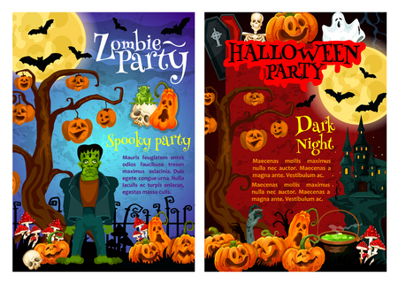 Halloween zombie party invitation poster for october holiday celebration. Autumn pumpkin, ghost and bat, spooky house, skeleton and moon, skull, zombie hand and creepy cemetery for promo banner design