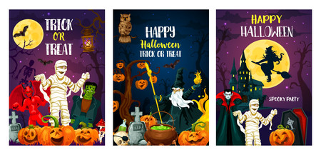 Halloween greeting cards for trick or treat party invitation posters. Vector cartoon design of pumpkin lantern, witch or skeleton with zombie monsters and spooky ghosts on cemetery Illustration