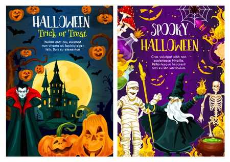 Halloween holiday trick or treat night celebration banner. Pumpkin lantern, bat and spider, ghost house, vampire monster and skeleton, mummy, evil wizard and moon for horror party invitation design