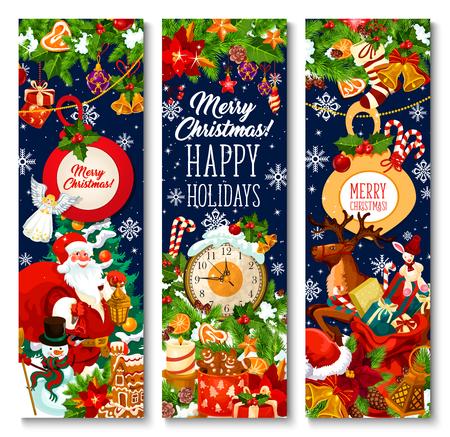 Frohe Weihnachten-Grußbanner-Design von Weihnachtsbaumkranz, Weihnachtsgeschenktüte auf Schlitten und Neujahrsuhr. Vektorschneeflocke auf Weihnachtsbaum, Lebkuchenplätzchen des neuen Jahres und goldene Glocke oder Sternverzierung