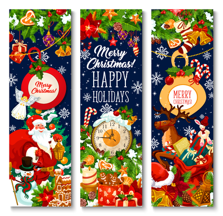 Merry Christmas greeting banners design of Xmas tree wreath, Santa gifts bag on sleigh and New Year clock. Vector snowflake on Christmas tree, New Year gingerbread cookie and golden bell or star ornament