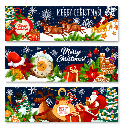 Merry Christmas holiday greeting banners of Santa with gifts bag in deer sleigh and Xmas tree in snowflakes and New Year ornaments. Vector Xmas decorations and ornaments on blue snow background Stock Illustratie