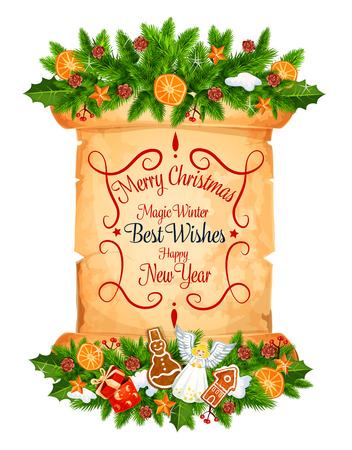 Christmas and New Year greeting card on old paper scroll. Winter holiday garland with holly berry and Xmas tree branch, gift, star and cookie, snowflake, gingerbread and greeting wishes on parchment