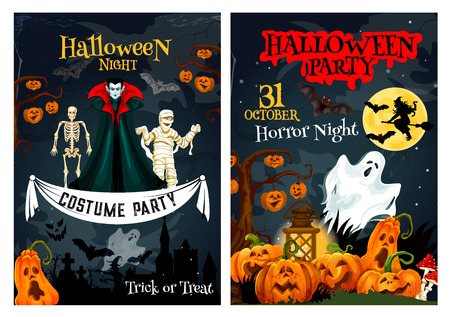 Halloween night party invitation poster for trick or treat 31 October costume celebration. Vector horror design of vampire, zombie and skeleton with Halloween pumpkin lantern on graveyard