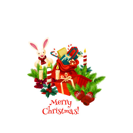 Merry Christmas wish icon of Santa gifts and bunny ornament, greeting lettering and holly wreath decoration in snowflakes for winter holiday season. Vector poinsettia and New Year candle on Christmas tree Stock Illustratie