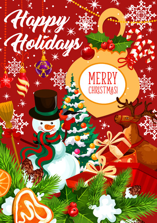 Merry Christmas happy holidays greeting card of snowman and Santa gifts at Xmas tree for winter holiday season. Vector holly wreath decoration or reindeer and golden bell for Christmas celebration