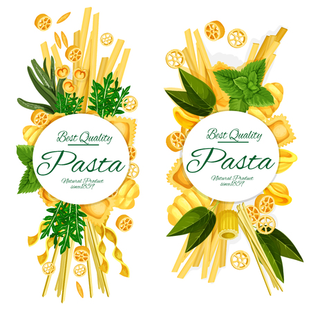 Manifesti di pasta italiana di spaghetti, ravioli o penne e maccheroni funghetto della migliore qualità. Disegno vettoriale per ristorante Italia o ricetta di cucina per farfalle, ditalini e condimenti basilico o rosmarino