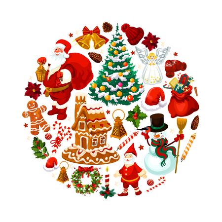 Christmas holidays decorations and Santa gifts or New Year season symbols. Vector Christmas tree ornaments, golden bell and star, gnome dwarf and gingerbread cookie, holly wreath and poinsettia