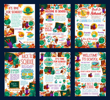 Back to School autumn education season posters of school books and sciences. Vector mathematics ruler, school bag or geography globe and chemistry microscope, literature book and drawing paint brush