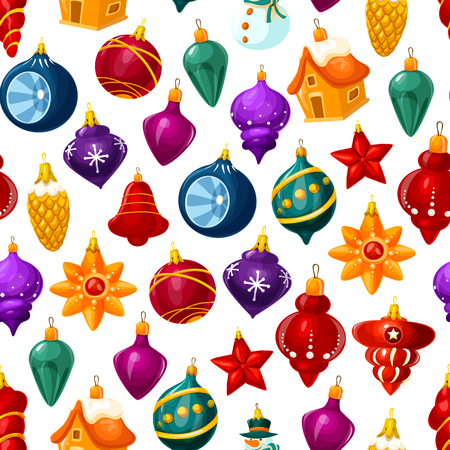 Christmas decorations pattern background. Vector seamless cartoon Christmas tree glass ball with stars, house or star and icicles for New Year holiday greeting card