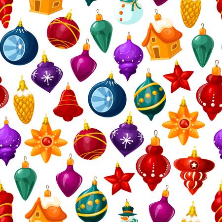 Kerstversiering patroon achtergrond. Vector naadloze cartoon kerstboom glazen bol met sterren, huis of ster en ijspegels voor nieuwjaarsvakantie wenskaart Vector Illustratie
