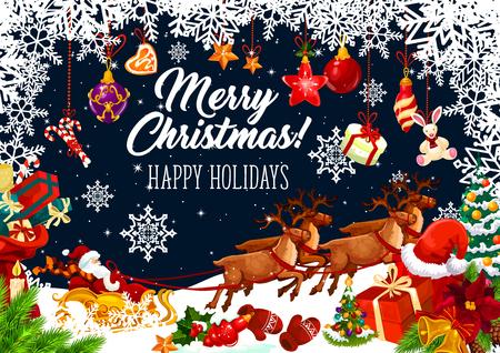 Kerstvakantie Santa slee wenskaart met frame van nieuwjaarscadeau en sneeuwvlok. Feestelijk cadeau met kerstboom en bel, strik, bal en ster, snoep en koekje voor ontwerp voor wintervakanties