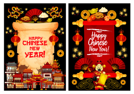 Chinese New Year holiday greeting card on parchment scroll. Spring festival town and god of prosperity festive poster with oriental lantern, dancing dragon and golden coin, firework, fan and pagoda