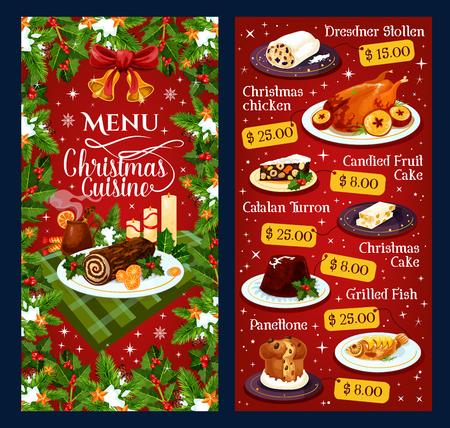 Modèle de menu de cuisine de Noël pour le plat de dessert de vacances d'hiver de dîner de restaurant. Prix vectoriel Dresdner stollen, poulet de Noël ou poisson grillé et gâteau aux fruits confits, turron catalan et panettone