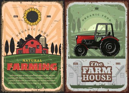 Boerderij en tractor retro poster voor landbouw en landbouwindustrie. vector vintage ontwerp van boer graanschuur en akkerbouwveld met tarwe en rogge oogst, zonnebloem en mill