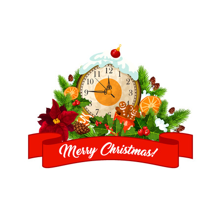 Merry Christmas eve clock and Xmas tree decorations with happy holiday wish on red ribbon. Vector isolated icon of holly or poinsettia wreath, gingerbread cookie and orange in snow for greeting card 向量圖像