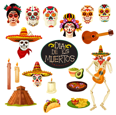 Dia de los Muertos Mexican traditional holiday symbols. Vector cartoon skull with Mexico ornaments, skeleton dancing with banjo guitar and candles for Day of Dead greeting card design Vettoriali