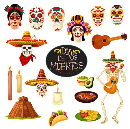 Símbolos de la fiesta tradicional mexicana Dia de los Muertos. Cráneo de dibujos animados de vector con adornos de México, esqueleto bailando con guitarra banjo y velas para el diseño de la tarjeta de felicitación del Día de Muertos Ilustración de vector