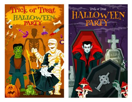Cartel de fiesta de truco o trato de vacaciones de Halloween con monstruos del cementerio de terror. Zombie espeluznante, esqueleto y vampiro, linterna de calabaza, momia y mago malvado, Drácula y lápida para el diseño de la invitación Ilustración de vector