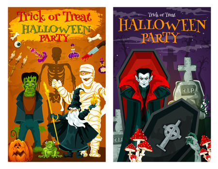 Halloween holiday trick or treat party poster with horror cemetery monsters. Spooky zombie, skeleton and vampire, pumpkin lantern, mummy and evil wizard, dracula and gravestone for invitation design Ilustração