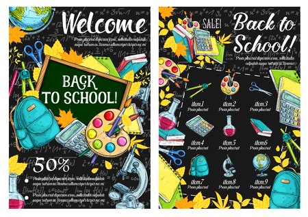 Back to School sale sketch poster design template of school bag or lesson stationery on blackboard. Vector promo offer sale for school bag or book and calculator, globe or pencil and autumn maple leaf