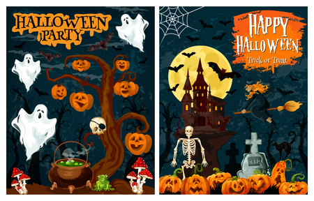 Halloween spooky house with october holiday pumpkin for horror night party banner. Flying ghost, bat and witch, creepy castle, lantern and skeleton, spider net and skull for invitation card design