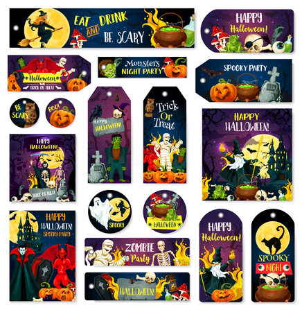 Halloween greeting cards, posters and banners for trick or treat party invitation. Vector cartoon design of pumpkin lantern, vampire or witch cat and skeleton zombie with spooky ghost monsters
