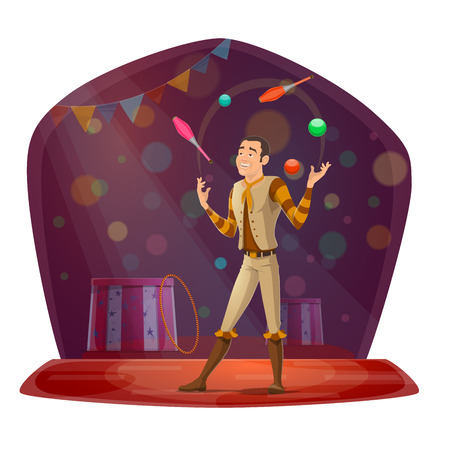 Juggler on circus arena throwing balls and skittles dressed in stage costume. Man showing tricks in front of audience, performance for entertainment or amusement, skillful performer vector isolated