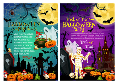 Halloween holiday horror party poster with spooky cemetery and monster. Scary ghost, bat and pumpkin lantern, haunted house, moon and mummy, spider net, gravestone and coffin for festive banner design