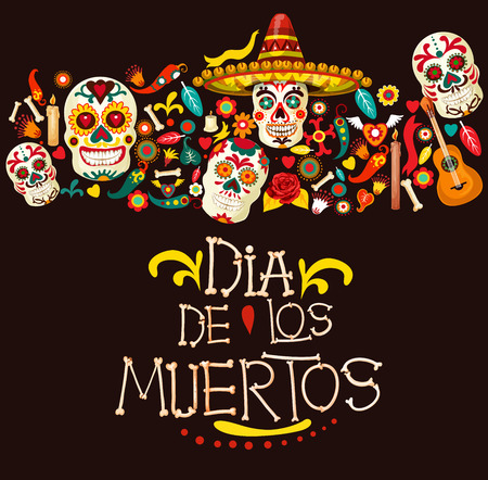 Dia de los Muertos greeting card for Mexican traditional holiday or Day of Dead celebration. Vector cartoon skeleton skulls in sombrero with Mexico ornaments, banjo guitar and candles Vettoriali