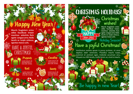 Christmas Day and New Year holidays banner set. Christmas garland with Xmas tree, gift, Santa and snowflake greeting card with frame of bell, ball, candy and ribbon, candle, cookie and poinsettia