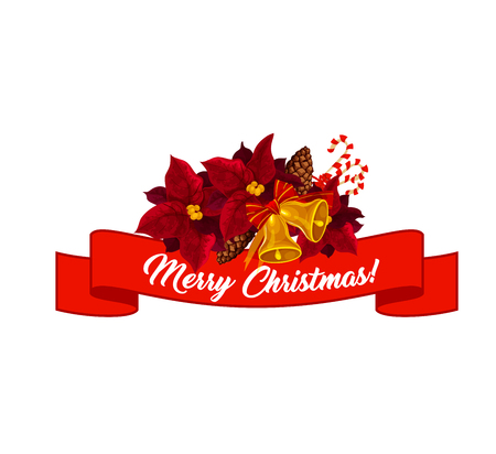 Merry Christmas greeting text lettering on red ribbon in poinsettia star wreath. Vector icon of holiday wish and Christmas tree decorations of golden bells and fir cones for winter season celebration