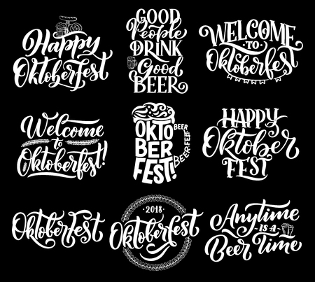 Oktoberfest beer festival lettering. Vector calligraphy for German October fest of beer glass or mug and pint, hop pattern and snacks pretzel bread or sausage in flags