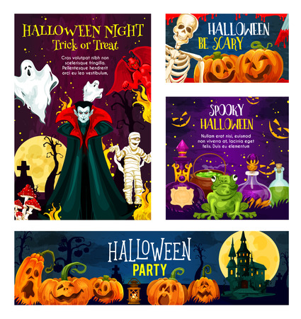 Halloween night party invitation banner set with october holiday horror monsters. Spooky pumpkin, skeleton and ghost, creepy vampire, mummy and devil demon, moon and haunted house festive card design